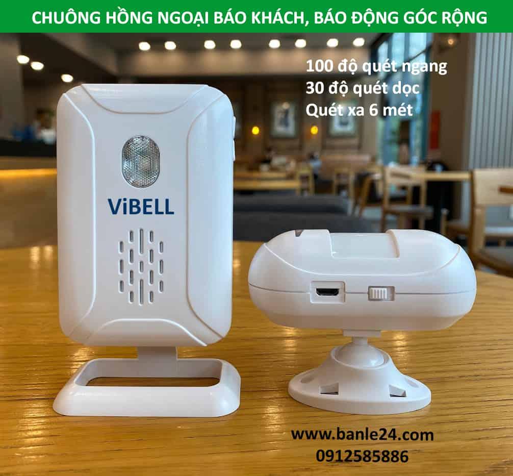 BANLE24H - Chuông báo khách, báo động hồng ngoại không dây góc rộng ViBell-W03