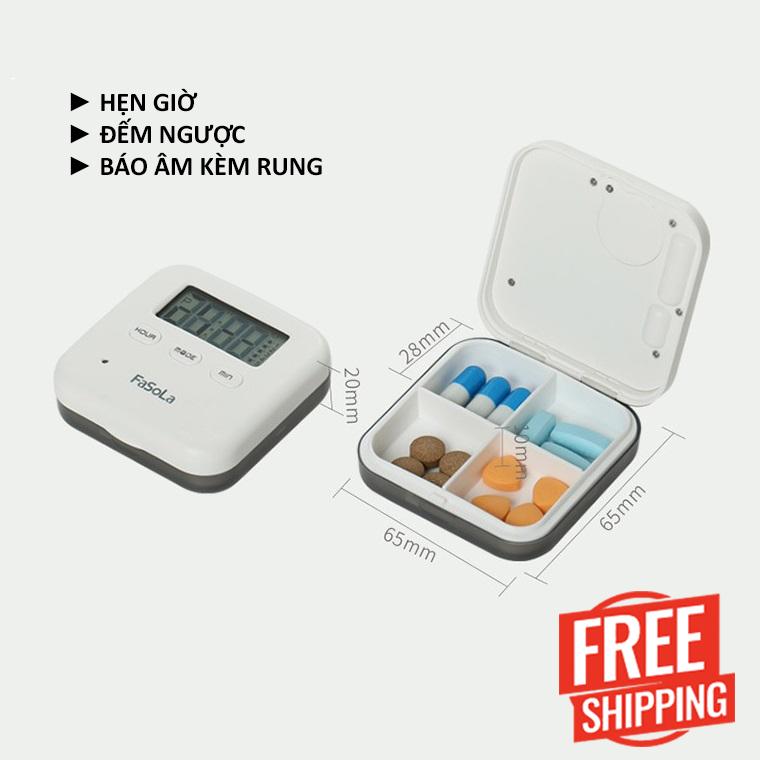 Hộp đựng và hẹn giờ uống thuốc thông minh có chuông và rung - Banle24 (Freeship)