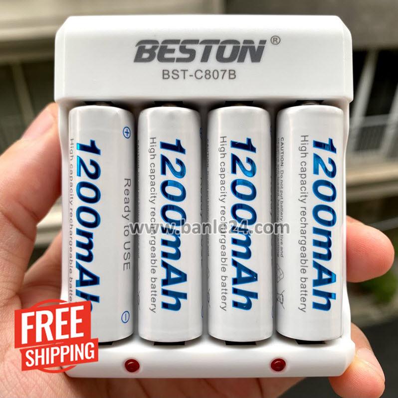 Combo 04 pin AA 1200 mAh kèm sạc C807B hãng Beston - Banle24