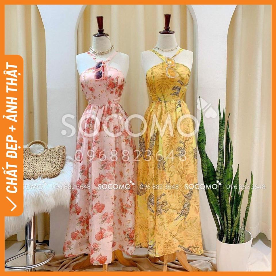 Váy maxi tơ hoa cổ yếm xẻ đùi - Hàng loại 1, chất đẹp - Giá tốt - 100% ảnh Socomo tự chụp (freeship)