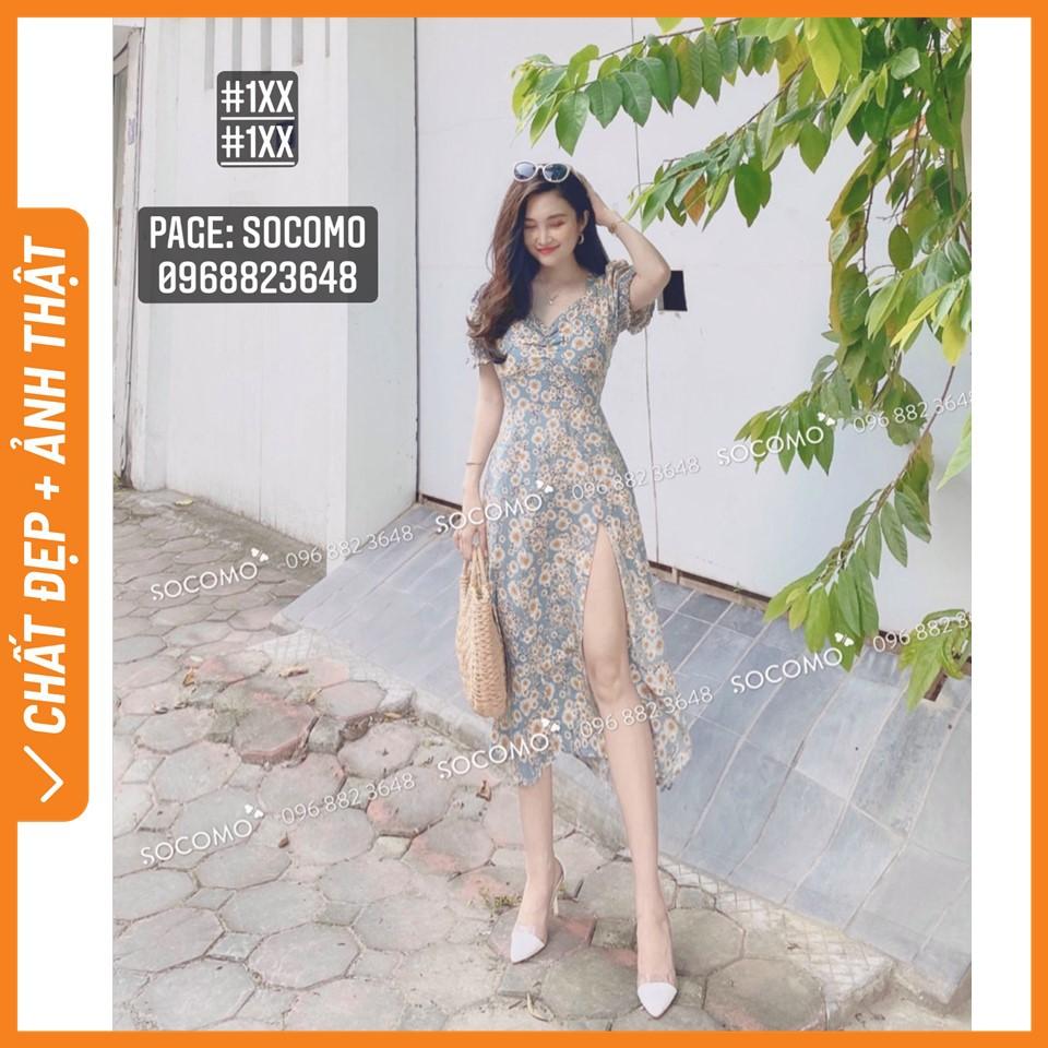 Váy lụa hoa xanh thiết kế - Hàng loại 1,chất đẹp - Giá tốt - 100% ảnh Socomo tự chụp (freeship)