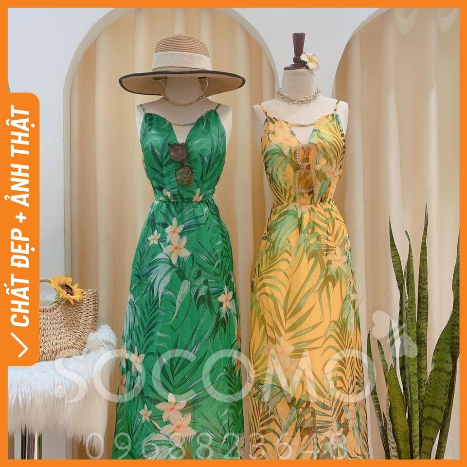 Váy maxi tơ hoa lá thiết kế hở lưng cổ yếm - Hàng loại 1, chất đẹp - Giá tốt - 100% ảnh Socomo tự chụp (freeship)