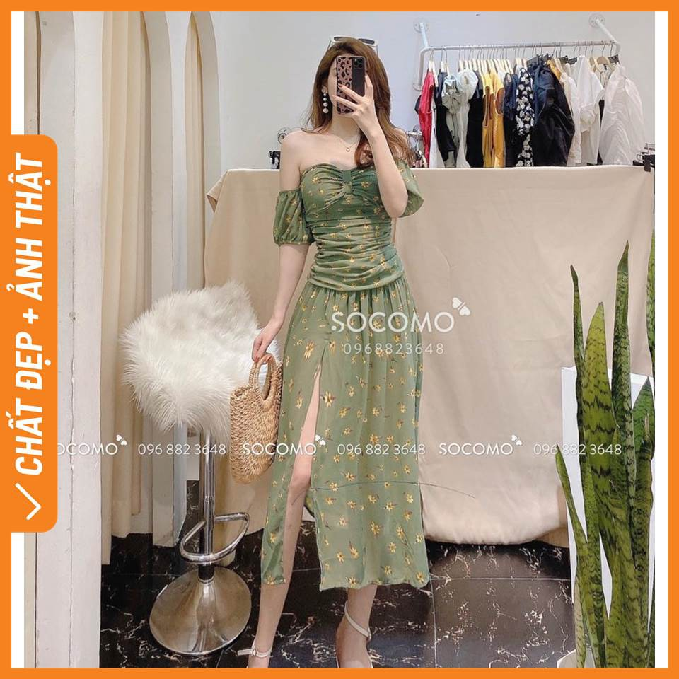 Váy maxi thiết kế trễ vai hoa xẻ - Hàng loại 1, chất đẹp - Giá tốt - 100% ảnh Socomo tự chụp (freeship)