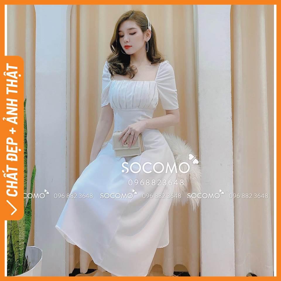 Váy thiết kế cổ U xếp ly ngực - Hàng loại 1, chất đẹp - Giá tốt - 100% ảnh Socomo tự chụp (freeship)