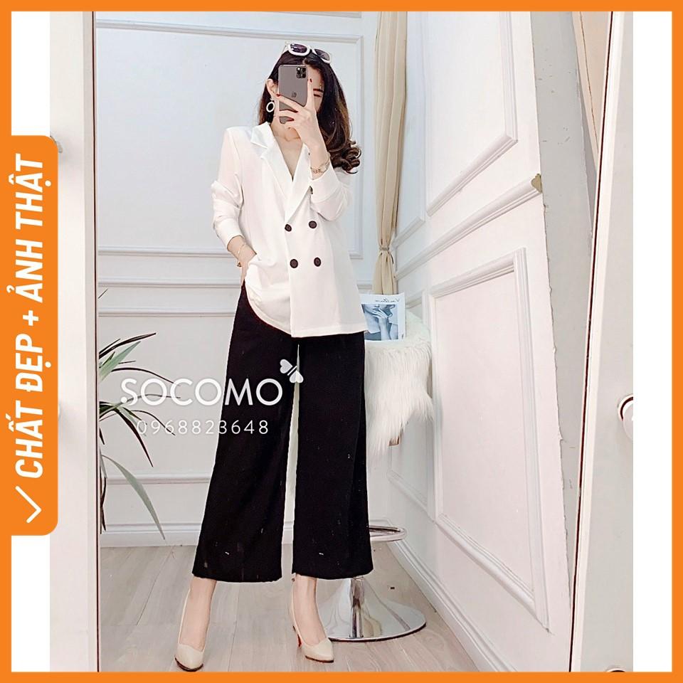 Set vest nữ áo trắng kèm quần suông Socomo - Hàng loại 1, chất đẹp - Giá tốt - 100% ảnh Socomo tự chụp