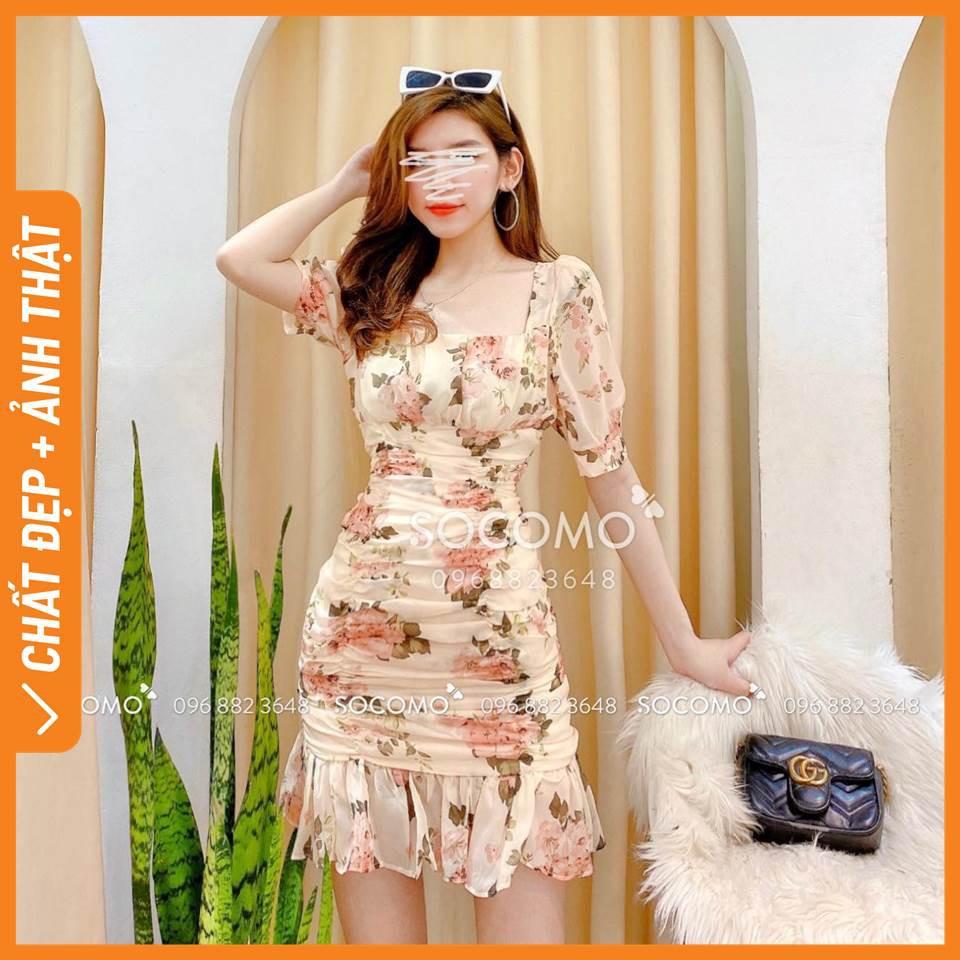 Váy hoa tơ thiết kế cổ U đuôi cá - Hàng loại 1, chất đẹp - Giá tốt - 100% ảnh Socomo tự chụp (freeship)