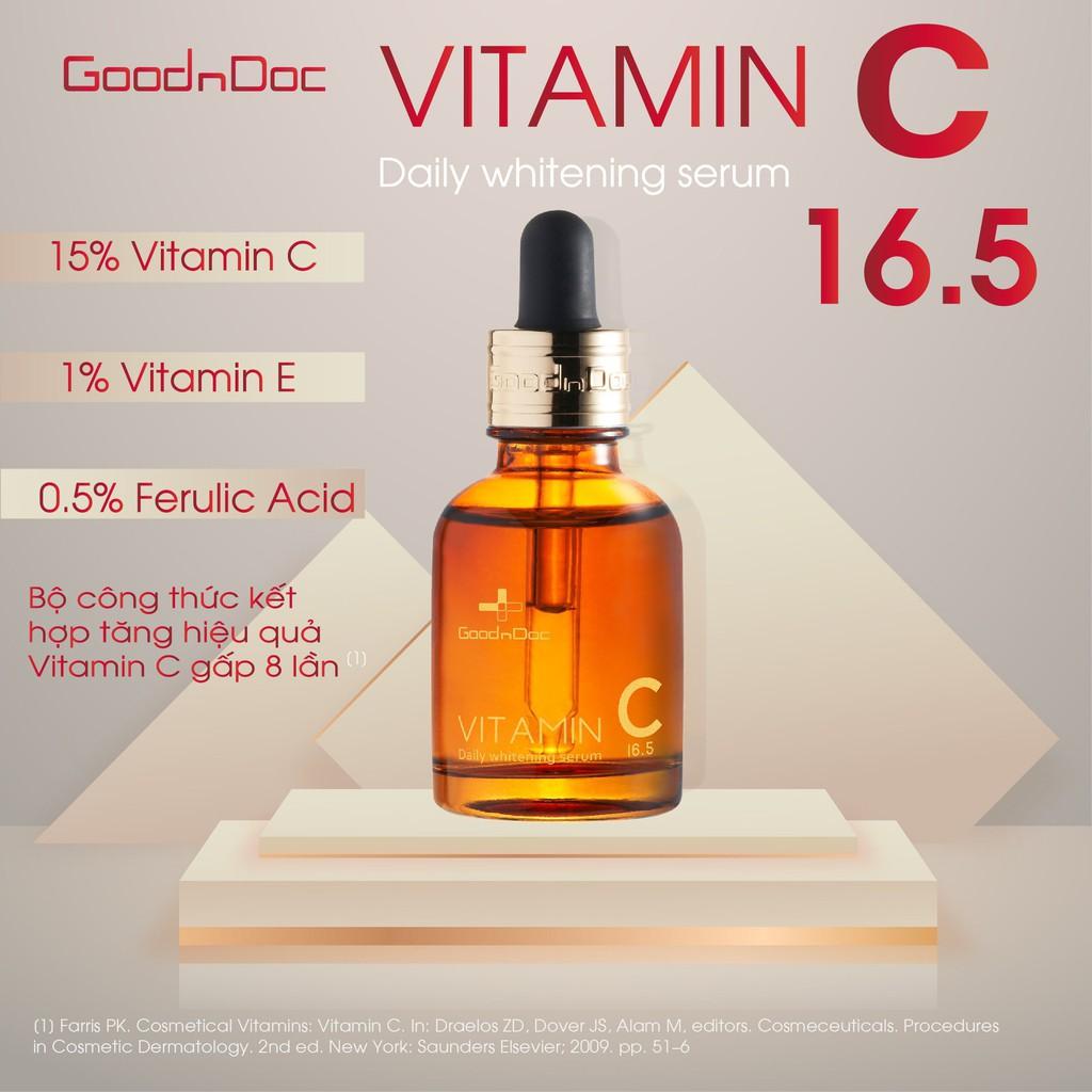 SERUM Dưỡng trắng sáng da GOODNDOC Vitamin C 16,5 Daily Whitening (Freeship) - TCTC