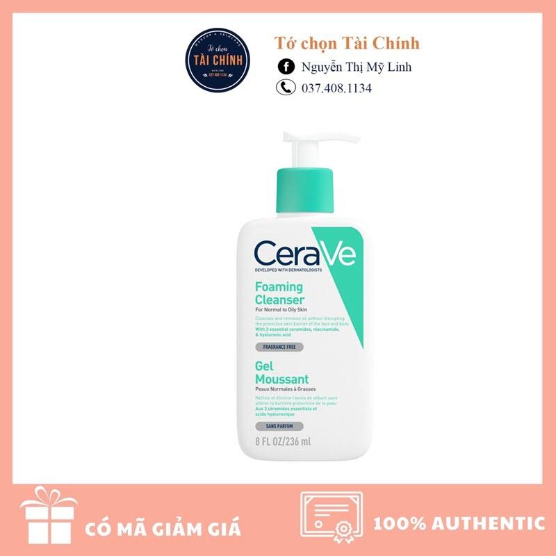 Sữa rửa mặt Cerave Foaming Facial Cleanser cho da dầu 236ml - hàng Pháp (Freeship) - TCTC